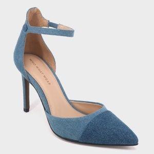 NEW Blue Denim Pointy Toe Ankle Strap Heels